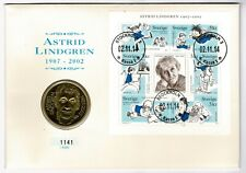 Sweden 2002 Commemorative Astrid Lindgren 50 SEK Coin 35 SEK Stamp Block