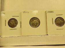 1941,42,42-S,43,and 43-D circulated Mercury Dime grouping-5 coins
