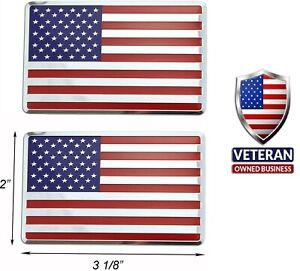SET OF 2-ALUMINUM American Flag Emblem Auto Truck Decal Badge Sticker Patriotic
