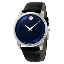 Movado Men's 0606610 Museum Stainless Steel Watch with Black Leather Band NEW!!