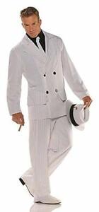 20's-30's Era Gangster Suit Costume 4Pc Wht Pinstripe Coat Pants Shirt Front/Tie