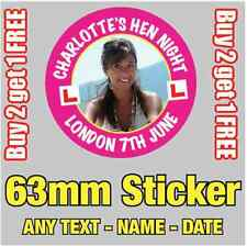 12 x Personalised Hen Party Night Photo Stickers 63mm BUY 2 GET 1 FREE - 077