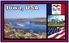 IOWA, USA, & FLAG - SOUVENIR NOVELTY FRIDGE MAGNET - NEW - GIFT