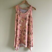 LOGO by Lori Goldstein Short-Sleeve Top Tunic Floral Pink Womens Size M Crewneck