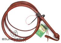 Professional 4 Foot 12 Plait Whisky Kangaroo Hide Bullwhip, Indiana Jones Style