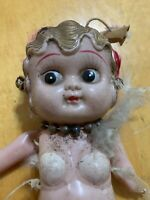 """Vintage 8"""" CELLULOID Doll Girl  Occupied Japan 1920s Bobbed Hair Antique P101"""