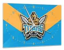 Licensed NRL Gold Coast Titans Rugby League Glass Clock Pool Dart Room Man Cave