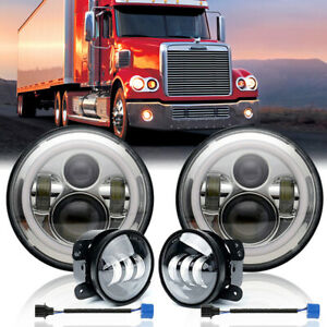 for Freightliner Coronado 7'' LED Headlight Halo Projector DRL + 4'' Fog Lights
