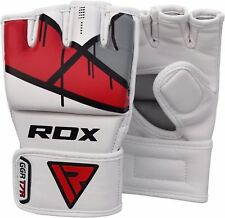 RDX Grappling MMA Gloves Leather Gel Tech UFC Fight Boxing Punch Bag Training T7