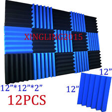 2x12x12 (12 Pack) Blue/CHARCOAL Acoustic Wedge Soundproofing Studio Foam Tiles