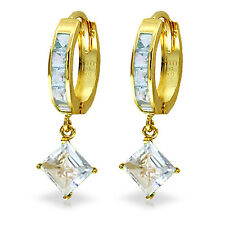 4 Carat 14K Solid Gold Hoop Earrings Dangling Aquamarine