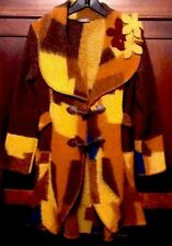 LUMA Designer Boho People Wool Blend Italian Sweater Jacket Coat S/M