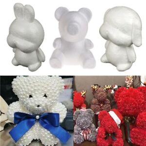 35cm White Polystyrene Foam Bear Dog Modelling Valentine Birthday Wedding Gifts