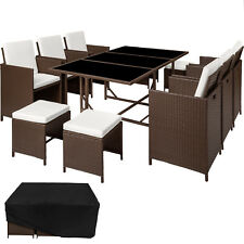 Poly Rattan Garden Furniture Set Dining Wicker 10 Seater Chair Stool Table