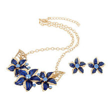 Blue and Gold Flower Necklace Choker Style Blue Rivers Collection Earring Set