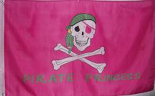 PINK PIRATE PRINCESS FLAG - SKULL & CROSSED BONES