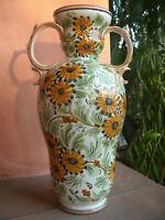 Vaso Ceramica P.M. DA CASTELLI Dec.Fiori, Due Manici Laterali 19x18 cm h 35 cm