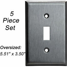 5 Pack Stainless Steel Single Cover Oversized Toggle Switch Wall Plate 1 Gang