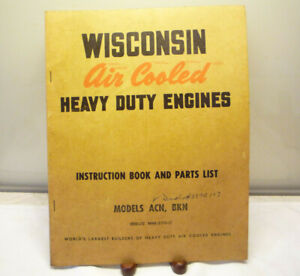 WISCONSIN ACN BKN ENGINE SERVICE REPAIR INSTRUCTION BOOK & PARTS LIST, EXCELLENT