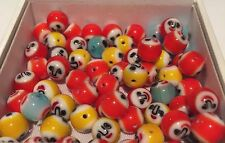 30 pieces Multicoloured smiley face lamp glass beads with hole - 0.85 cm
