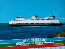 VINTAGE PHOTO POST CARD M.V. CATHLAMET WASHINGTON STATE FERRIES COLLECTOR SERIES