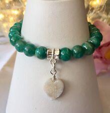 Handmade Genuine Gemstone Jewellery, Anazonite & Druzy stretchy bracelet.