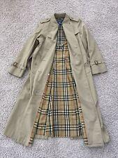 Vintage Burberry Trench Coat Double Breast Nova Check Lining Womens Sz 12 X-Long