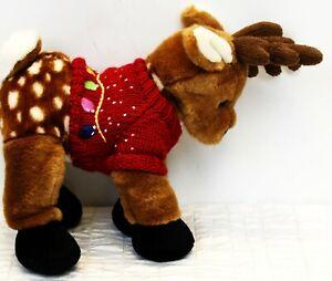 "Build A Bear Reindeer Red Christmas Lights Knit Sweater Stuffed Animal Plush 13"""
