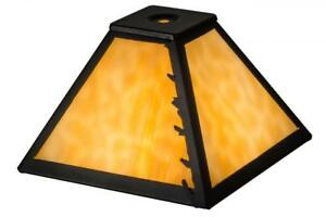 """Meyda Tiffany 8"""" Square Leafs Edge Leaves Replacement Lamp Shade"""