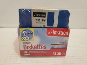Imation Rainbow Diskettes Floppy Disk IBM Formatted 30 New In Box