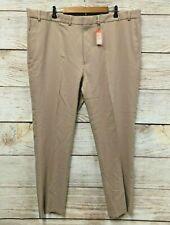 Dockers Signature Dress Pants Mens 46X34 Khaki Flat Slim Fit Stretch Waist New