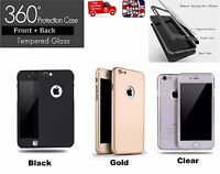NEW HYBRID 360° HARD ULTRA THIN CASE + TEMPERED GLASS for iPhone 5/5S/SE