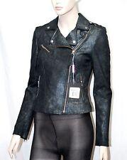 Mackage sz XS S-Maxine Metallic Black Leather Biker Moto Jacket Women Lady NWT