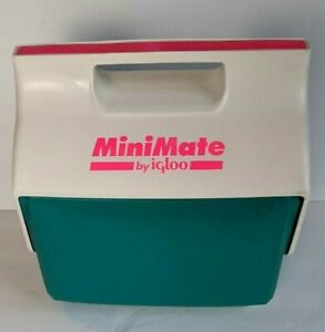 EUC Vintage 1991 Mini Mate Cooler By Igloo Made In USA Retro Hot Pink Neon Teal