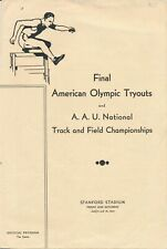 1932 Final American Olympic Tryouts AAU Track and Field Events Contestants Notes