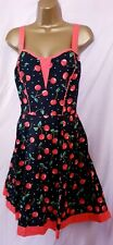 Bnwt (£38) Size 16 Black/Red Multi Cherry Dress.  (3583)