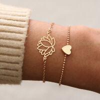 Bracelets LOTUS & CŒUR fleur romantique charmant doré ou argenté pour femme
