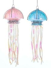 Kurt Adler Pink and Blue Jellyfish  Holiday Ornaments Glass Set of 2