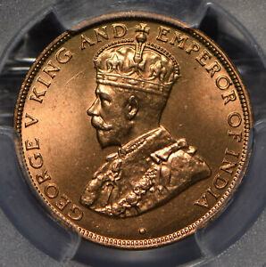 Hong Kong 1933 Cent PCGS MS66+RD rare this grade in RED PC0840* combine shipping