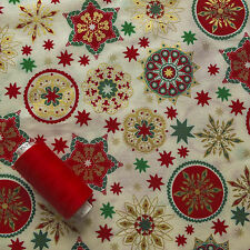 Cream Mandala Style Snowflake Christmas 100% Cotton Fabric - sold by the metre
