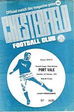 Football Programme>CHESTERFIELD v PORT VALE Feb 1975