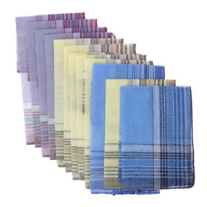 12Bulk Plaid Handkerchiefs Men Women Classic Soft Pocket Square Hankie