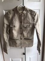 Women's Michael Kors Beige Utility Jacket Button Up Coat Long Sleeve Size 2