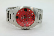 "Mens Diesel ""Only the Brave"" Silver Tone Red Dial Stainless St Watch New Battery"