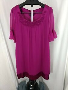NWT Signature by Robbie Bee Fuchsia 100% silk