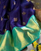 Designer Blue Silk Blend Jacquard Saree Sari Blouse Rich Pallu Indian Women