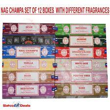 SET A Genuine Nag Champa Variety Box Incense 12 x 15g Satya Sai Baba INSENCE NEW