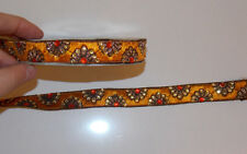 orange crystal jacquard embroidered ribbon lace applique trimming decor Indian