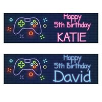 2 personalised birthday banner neon game console kids children boy party poster