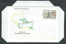 1992 ITALIA BIGLIETTO POSTALE SCOPERTA AMERICA QUARTO VIAGGIO DI COLOMBO - ED